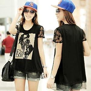 OnlyUrs New Korean Yards Lace Then Fight Fat Mm -Sleeved T-Shirt Women Ladies T-Shirt Tops