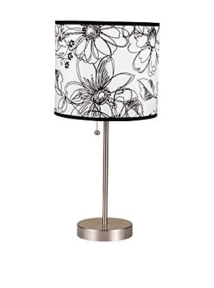 ORE International Floral Print Steel Table Lamp, White/Black