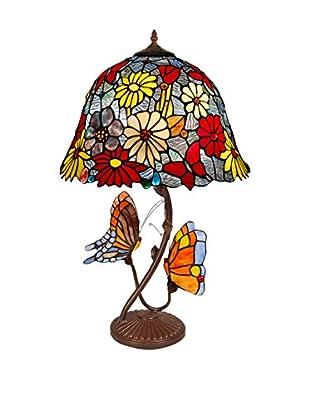 Arte dal Mondo Tischlampe Fiori E Farfalle
