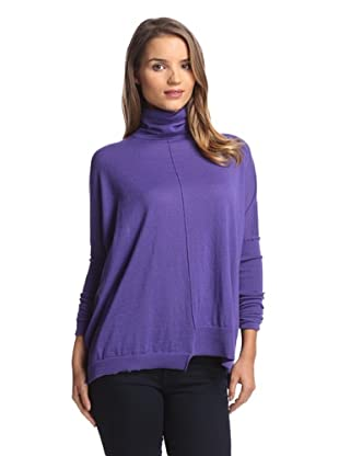 Autumn Cashmere Women's Boxy Turtleneck with Uneven Rib (Gionna Violet)