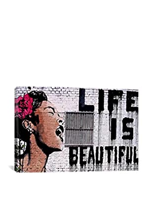 Banksy Life Is Beautiful Gallery Wrapped Canvas Print, Multi, 40