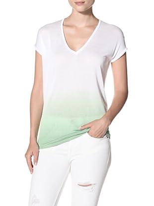 525 America Women's Dip Dye V-Neck Top (Caribbean Green)