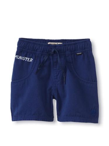 Munster Kid's Black & Blue Twill Shorts (Blue)