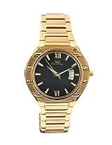 Ciemme Men's Luxury Swiss Quartz Ronda Movement Golden Strap Black Dial Wristwatch