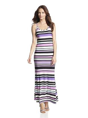 JOSA Tulum Women's Maxi Dress with Crisscross Straps (Purple Stripe)