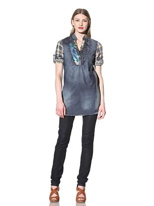 Desigual Women's Denim Tunic with Plaid Sleeves (Multi)