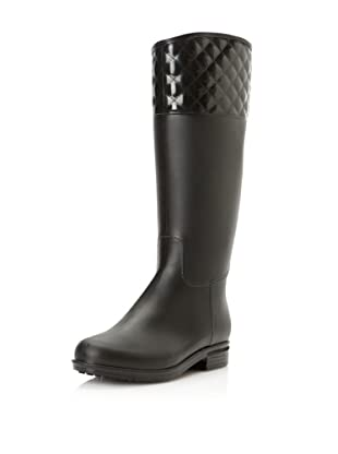 däv Women's Quilted Victoria Rain Boot (Black)