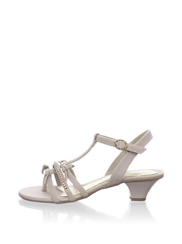 Pampili Kid's Kitten Heel T-Strap Sandal (Beige)