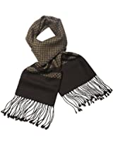 Dahlia Men's Wool Blend Scarf - Classy Checker and Striped Block - Brown