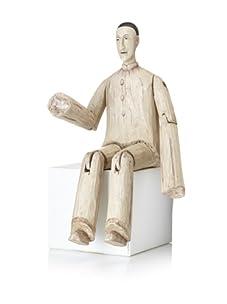 Venezia Sitting Wooden Pierrot Figure E (Multi)