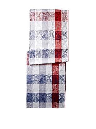Garnier-Thiebaut Mille Losanges Fog Table Runner, Red/Blue