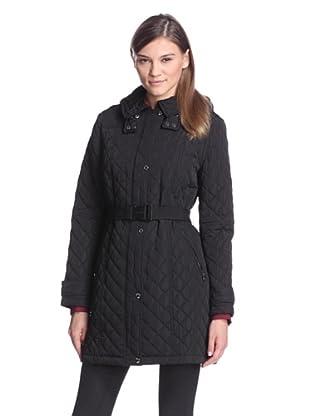 Calvin Klein Women's Quilted Coat with Belt (Black)