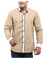 See Designs Men Buttoned Shirt (SDMDWSS14SH126_XXL, BEIGE, XXL)