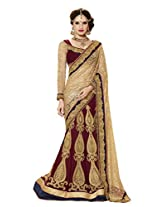 Vipul Heavy Embroidery Red Golden Net & Jacquard Lehanga Saree