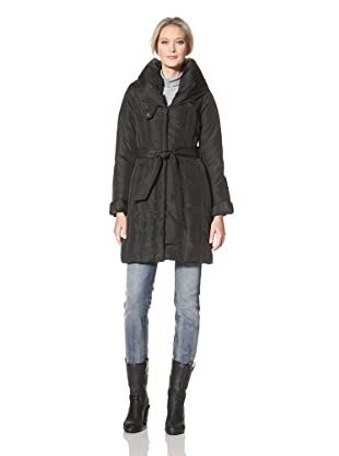 CoffeeShop Women's Belted Down Coat (Black)