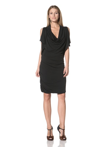 Halston Heritage Women's Slit Sleeve Dress (Black)