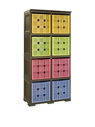 Tontarelli Estantería Con 8 Cubos Marrón