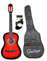 """38"""" Inch Student Beginner Red Acoustic Guitar With Carrying Case & Accessories & Directly Cheap(Tm) Translucent Blue Medium Guitar Pick"""