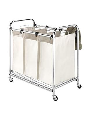 Whitmor Deluxe Chrome Triple Laundry Sorter, Tan