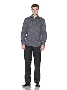 Report Collection Men's Printed Button-Front Shirt (Grey/Black)