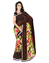 Sonal Trendz Brown Color Printed Saree. Weightless Fabric Printed Saree with Lace & Blouse. Festive Wear.