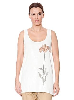 Cortefiel T-Shirt Blume (Weiß)