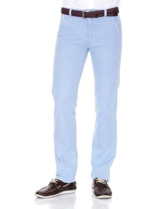 Cortefiel Pantalón Algodón Lino Ppt (Azul Claro)