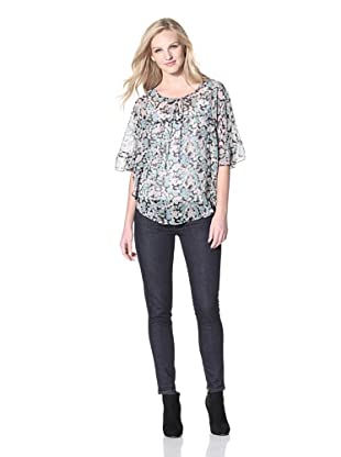 PJK Patterson J. Kincaid Women's Willow Raja Ruffle Blouse (Black Multi)