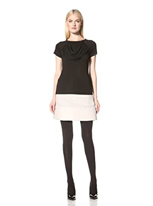 Christian Siriano Women's Tee with Cowl Detail (Black)