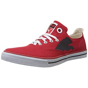 Puma Red Canvas Shoes For Men