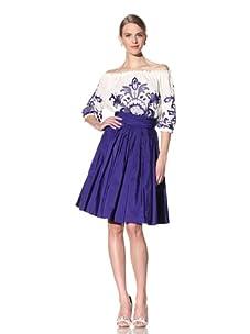 Naeem Khan Women's Flared Skirt (Ink Blue)