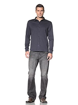 Robert Barakett Men's Georgia Heathered Shirt (Navy)