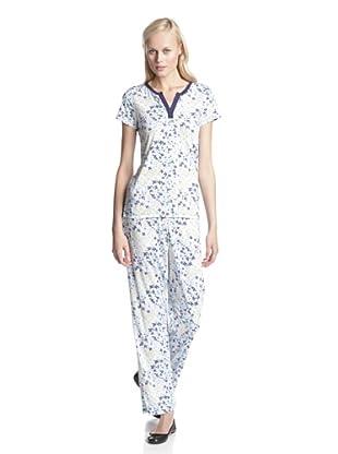 BH PJ's by BedHead Pajamas Women's Short Sleeve V-Neck Pajama Set (Ditsy Navy)