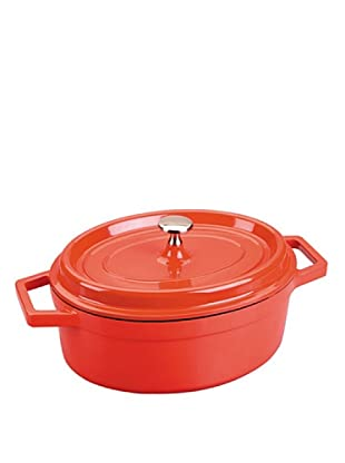 Lacor 25931 - Cacerola oval roja aluminio fundido 31x25 cms