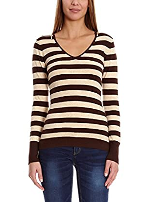 Assuili Pullover V Bi-Couleur Zip