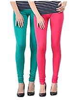Blackmilan Women's Leggings (ZBMWL-1004-Green-Pink_Multi-Coloured_Small)