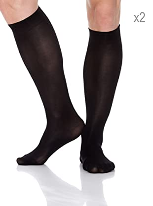 Pierre Cardin Pack x 2 Pares Calcetines Ejecutivo Poliamida (Negro)