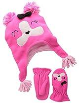 Accessories 22 Girl's 2-6X Playful Pup Fleece Critter Hat and Mitten Set