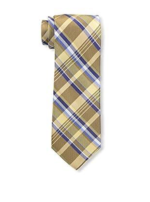 Bruno Piattelli Men's Plaid Silk Tie, Gold