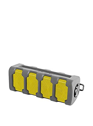 Sharper Image Weatherproof Rugged Bluetooth Speaker with Built-In MIC (Grey/Yellow)