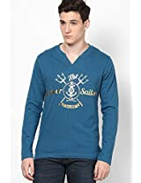 Blue Full Sleeve Printed Henely T-Shirt