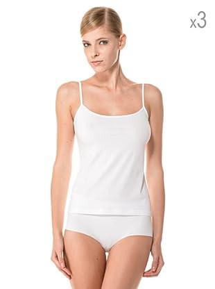 Anyma by Cotonella Pack 3 Camisetas Tirantes Finos Bielástico Extra Fino (Blanco)