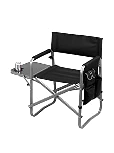Picnic at Ascot Folding Director's Chair with Table (Black)