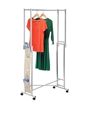 Honey-Can-Do Steel Chrome Double Folding Square Tube Garment Rack
