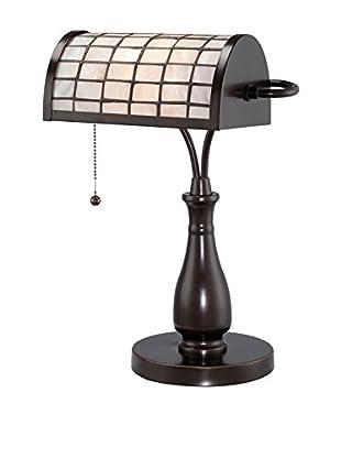 Lite Source Emmly Desk Lamp, Dark Bronze/Off-White