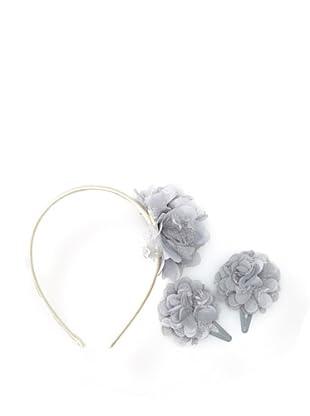 Liliella Gray and Cream Headband and Hairclip Set