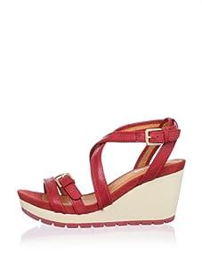 Geox Women's Gea Wedge Sandal (Medium red)