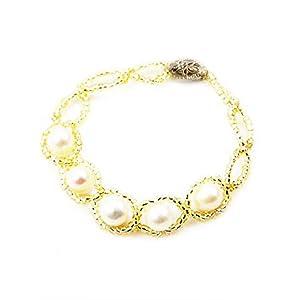 Trendy Souk -- Amaris -- South Sea Shell (6-8 mm) Single Line Pearls Bracelet