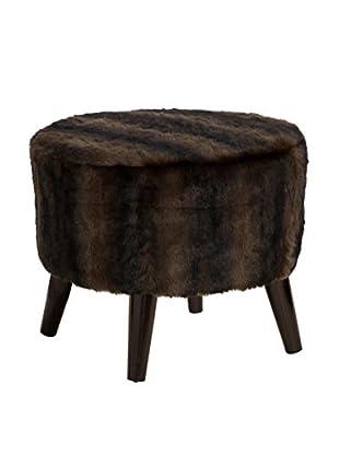 Skyline Sable Faux Fur Ottoman, Brown