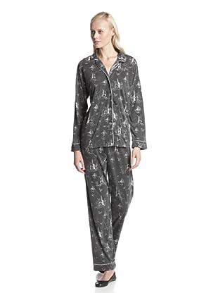 BH PJ's by BedHead Pajamas Women's Classic Notch Collar Pajama Set (Toile Black)